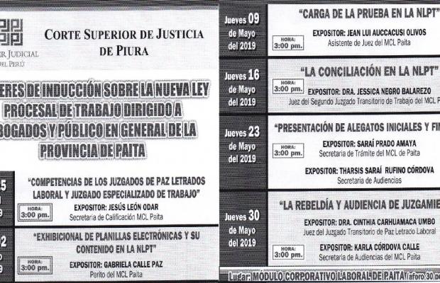 INVITACIÓN A TALLER DE INDUCCIÓN SOBRE  LA NUEVA LEY PROCESAL DE TRABAJO